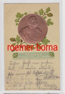 80921 geprägte Ak Wilhelm II Deutscher Kaiser König v. Preussen 1907