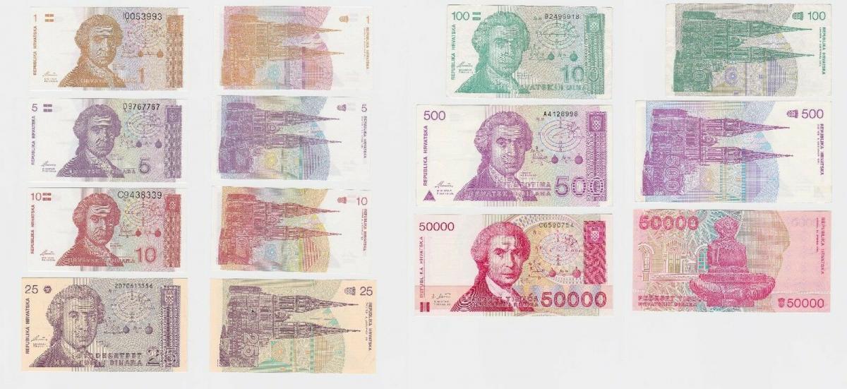 7 Banknoten Kroatien 1 bis 50000 Dinar 1991-1993 (118652) 0
