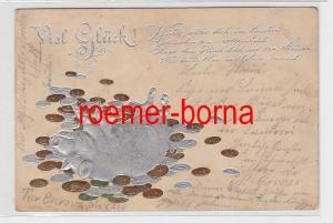 74959 geprägte Ak Viel Glück! Schwein wälzt sich in Münzen 1901