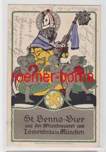 80920 Ak Werbung St. Benno-Bier aus d. Aktienbrauerei zum Löwenbräu München 1913