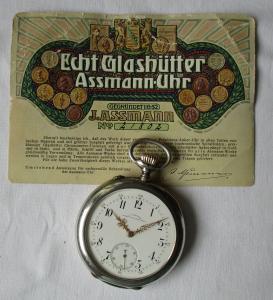 Silberne Taschenuhr J.Assmann Glashütte 900er Silber um 1910 (110677)