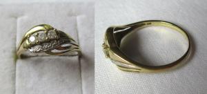Charmanter Damen Ring aus 333er Gold mit 3 Schmucksteinen (123965)