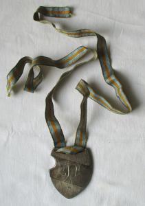 800er Silber Studentika Burschenschafts Abzeichen am Band um 1930 (113724)