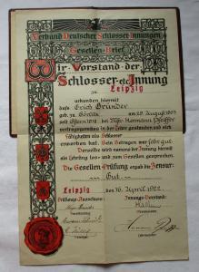 Alter Gesellenbrief Leipzig 1922 Verband dt. Schlosser Innungen Zeugnis (123330)