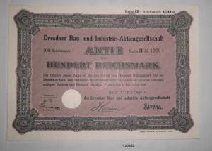 100 Reichsmark Aktie Dresdner Bau- & Industrie AG Dresden 1. Juli 1928 (120653)