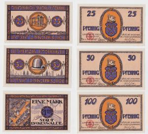 25, 50 und 100 Pfennig Banknoten Notgeld Stadt Luckenwalde 1921 (126581)