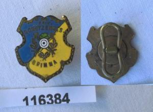 Emailliertes Abzeichen private Schützengesellschaft Grimma um 1920 (116384)