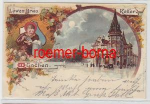 79105 Ak Lithographie München Löwen-Bräu Keller 1899