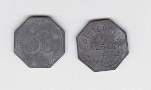 50 Pfennig Zink Wertmarke Rittergut Walbeck um 1920 (119091)