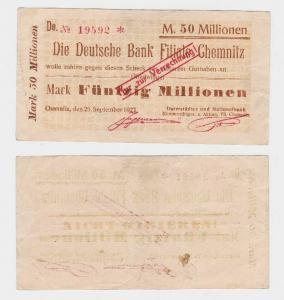 50 Millionen Mark Banknote Deutsche Bank Filiale Chemnitz 25.9.1923  (118725)