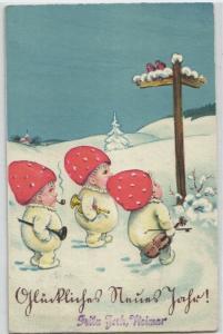 92489 Neujahrs Ak 3 Zwerge verkleidet als Fliegenpilze mit Musikintrumenten 1935