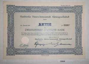 200 Mark Aktie Hanfwerke Füssen-Immenstadt AG Oktober 1951 (129009)