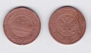 3 Kopeken Kupfer Münze Russland 1912 (117178)