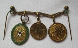 Seltene Miniatur Kette Preußen mit 3 Orden 1. Weltkrieg (123666)