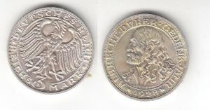3 Mark Silber Münze Albrecht Dürer 1928 D Jäger 332 (118744)