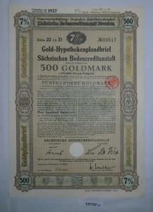 500 Goldmark Pfandbrief Sächsische Bodencreditanstalt Dresden 20.1.1931 (131737)