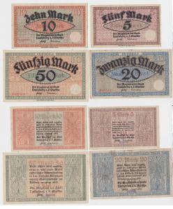 5, 10, 20 und 50 Mark Banknoten Kriegsgeld Landsberg Warthe um 1918 (130405)