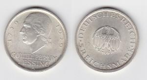 5 Mark Silber Münze Gotthold Ephraim Lessing 1929 A (107643)