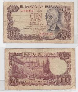 100 Pesetas Banknote Spanien 17.November 1970 (115959)