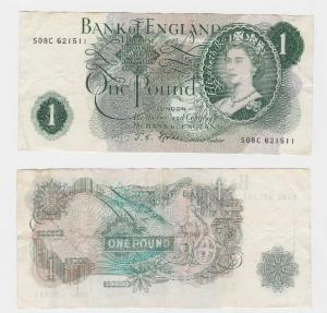 1 Pfund Banknote Bank of England (1966-1970) (118322)