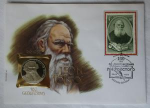 Numisbrief 160. Geburtstag Leon Tolston mit 1 Rubel Münze 1988 (116059)