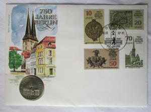 118515 Numisbrief 750 Jahre Berlin Nikolaiviertel mit 5 Mark Münze DDR von 1987