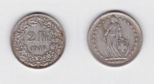 2 Franken Silber Münze Schweiz 1946 B (117169)