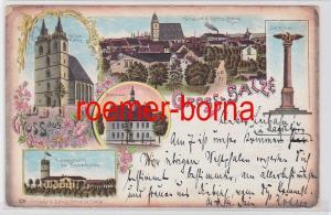 80800 Ak Lithografie Gross-Salze St. Johann Kirche, Rathaus usw. 1899