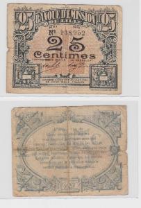 25 Centimes Banknote Frankreich Banque dÉmission de Lille 1915 (119160)