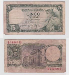 5 Pesetas Banknote Spanien 22.Juli 1954 (118196)