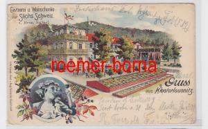 80804 Ak Lithografie Gruss aus Klosterlausnitz Gärtnerei u. Weinschenke 1899