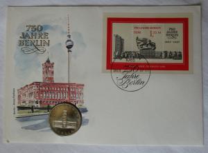 DDR Numisbrief mit 5 Mark 750 Jahre Berlin Rotes Rathaus 1987 (118346)