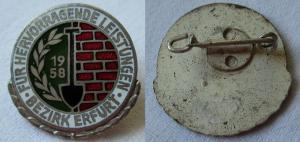 Alte Ehrennadel NAW-Nationales Aufbauwerk Erfurt 1958 Silber (113305)