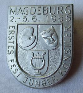 Seltenes DDR Abzeichen 1.Fest Junger Künstler Magdeburg 1955 (110445)