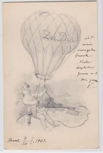 81716  Ak Engel mit Pfeil und Bogen fliegt mit Fesselballon 1903
