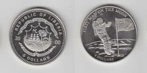 5 Dollar Nickel Münze Liberia 2000 1. Mann auf dem Mond (112849)