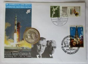 Numisbrief 20. Jahrestag der Ersten Landung auf dem Mond Oberth Salzburg /117446