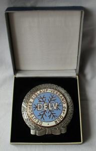 Emaillierte DDR Medaille Deutscher Eislaufverband der DDR DELV im Etui (122763)
