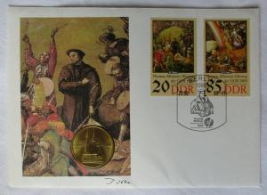 DDR Numisbrief mit 5 Mark Müntzer Ehrung Katharinenkirche Zwickau 1989 (110534)