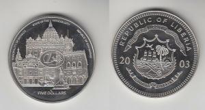 5 Dollar Nickel Münze Liberia 2003 Euro, Vatikan, Monaco, San Marino, (116466)