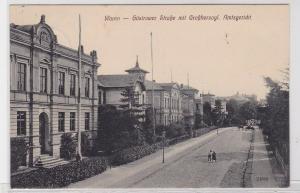 91026 Feldpost Ak Waren Güstrower Straße mit großherzogl. Amtsgericht 1916