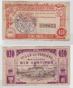 10 Centimes Banknote Belgien Ville de Verviers 1914  (119152)