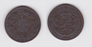 10 Centimes Kupfer Münze Luxemburg 1855 (117159)