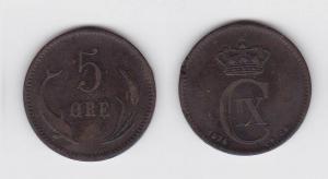 5 Öre Kupfer Münze Dänemark Delphin 1874 (117243)