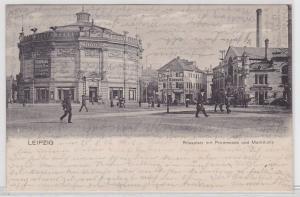 88040 Ak Leipzig Rossplatz mit Promenade und Markthalle 1904