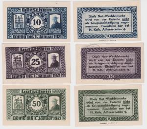 3 Banknoten Notgeld Hamburg H.Käse Alsterarcaden 1921 (121694)
