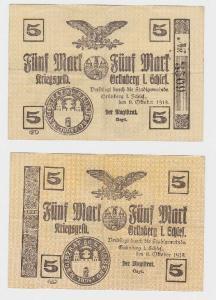 5 Mark Banknote Notgeld der Stadt Grünberg i.Schlesien 8.10.1918 (118924)