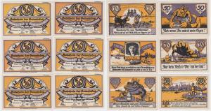 6 Banknoten 50 Pfennig Notgeld Gemeinde Altenwerder & Finkenärder 1921 (119287)