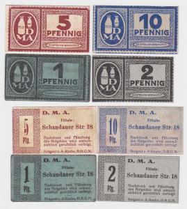 1,2,5 & 10 Pfennig Banknoten Notgeld Dresden D.M.A. Schandauer Str.18 (119036)