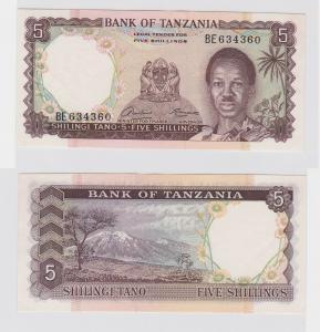 5 Shilingi Banknote Bank of Tanzania um 1966 kassenfrisch (119504)